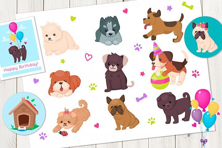 Puppies cartoon vector set