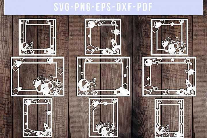 Bundle Of 9 Photo Frame Papercut Templates, SVG, DXF. PDF