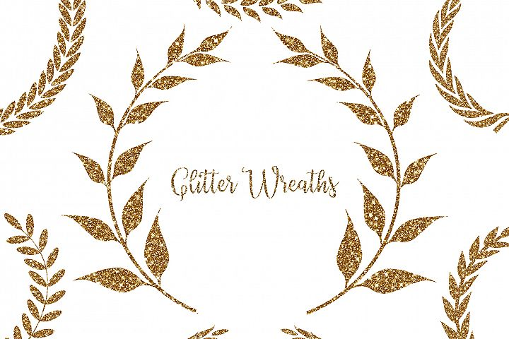 Glitter Wreaths Clipart,Glitter Frame Clipart,Floral Glitter