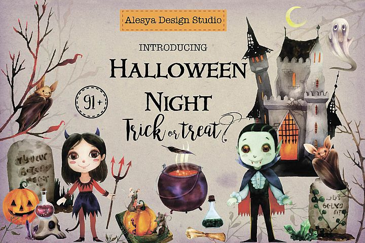 Halloween Night. Watercolor halloween characters.