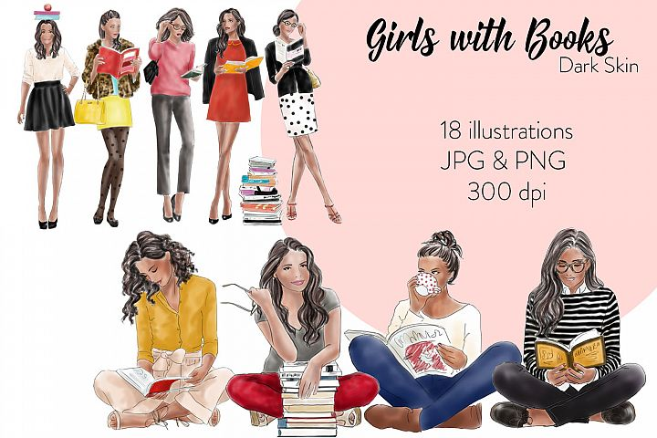 Fashion illustration clipart Girls with books - Dark skin