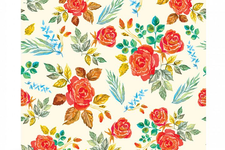 Set of watercolor design elements: rose flowers, plants, butterflies, seamless patterns, splashes.  - Free Design of The Week Design8
