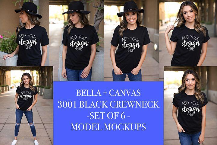 3001 BLACK CREWNECK MODEL MOCKUP - SET OF 6 MOCKUPS