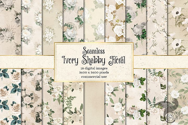Ivory Shabby Floral Digital Paper