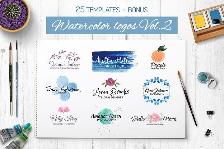 Watercolor logo templates V.2