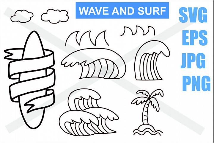 Wave Beach Coconut tree and Surfboard - SVG EPS JPG PNG