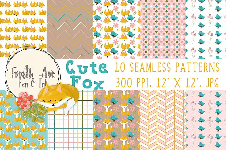 Cute Fox Seamless Patterns, Fox Digital Paper, Woodland Animal, Digital Background, Digital Wallpaper