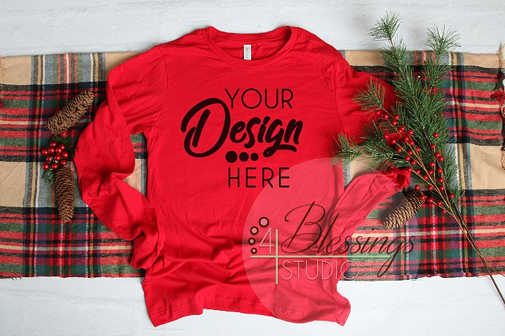 Christmas Long Sleeve Tshirt Mockup Red Bella Canvas 3501