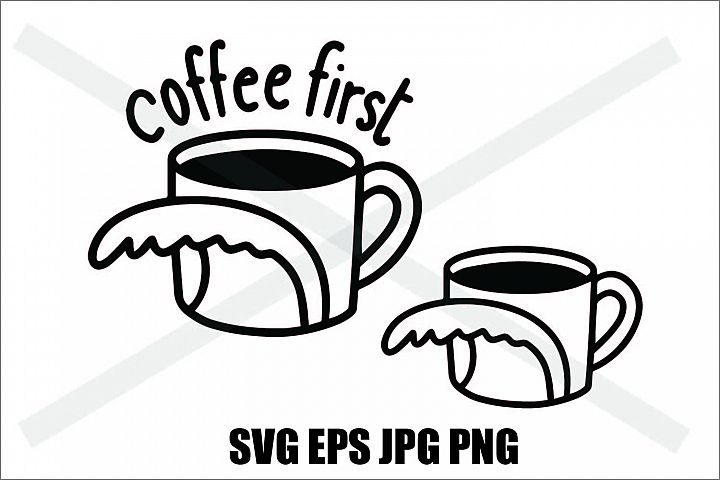 Coffee Cup and Wave Coffee First - SVG-EPS-JPG-PNG