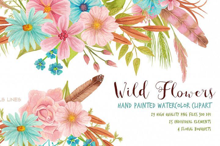 Wild Flowers Meadow Set Watercolor Clipart