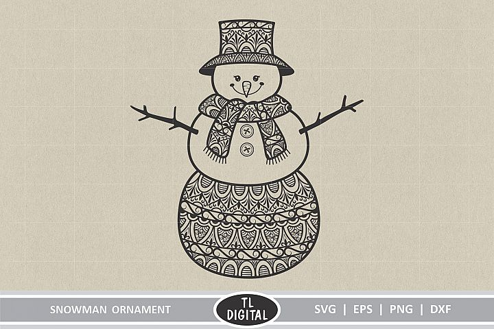 Snowman Ornament - Zentangle Snowman - Cut File
