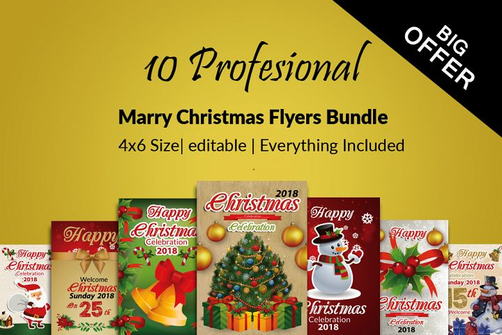 10 Christmas Celebration Flyers Bundle