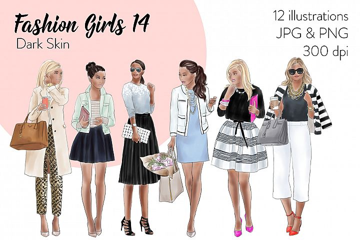 Fashion illustration clipart - Fashion girls 14 - Dark Skin