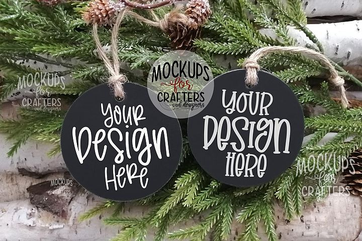 Black Cardboard Ornaments, Black Tags, MOCK-UP