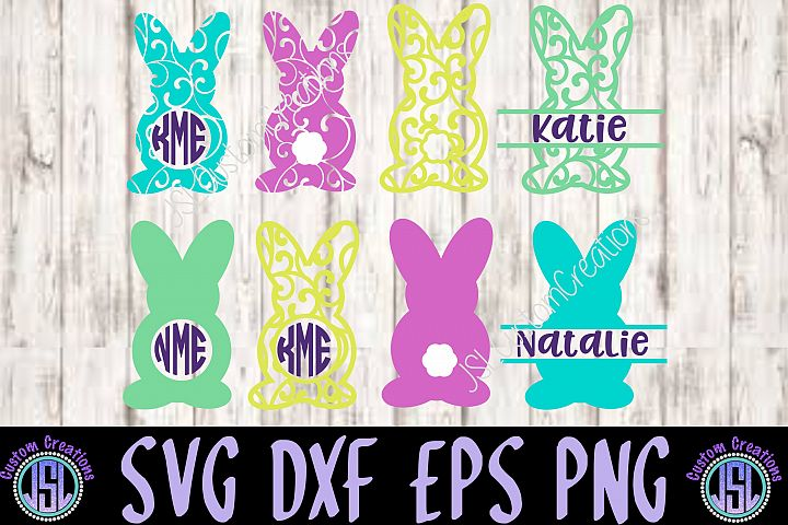 Bunny Monogram Frames Bundle Set of 8 | SVG DXF EPS PNG