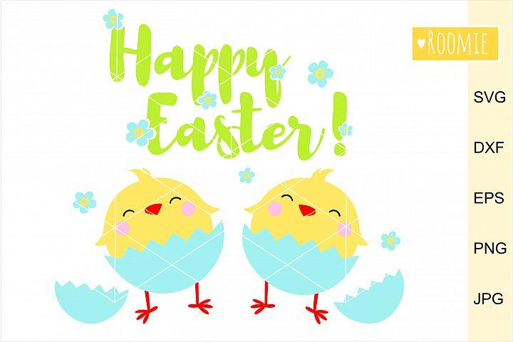 Happy Easter Chickens SVG. eggs SVG Silhouette, Cricut file