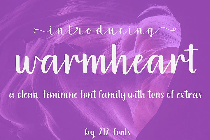 Warmheart Font Family Script, Serif, Alternates & Swashes