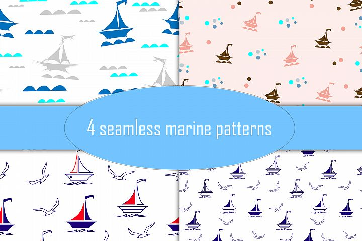 Marine themed seamless patterns, set of 4 plus 7 clip art
