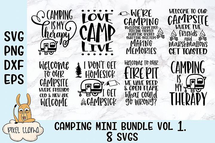 Camping Mini Bundle of 8 SVGs Vol 1