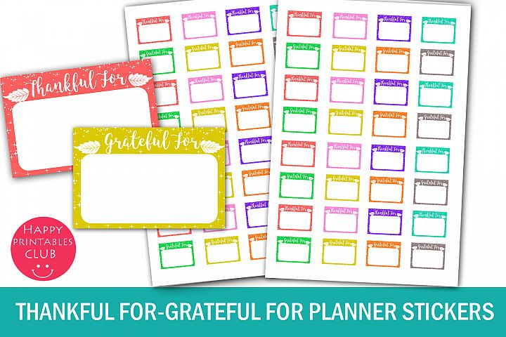 Thankful For Planner Stickers- Grateful For Planner Stickers
