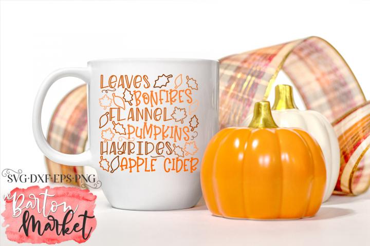 Leaves Bonfires Flannel Pumpkins SVG DXF EPS PNG