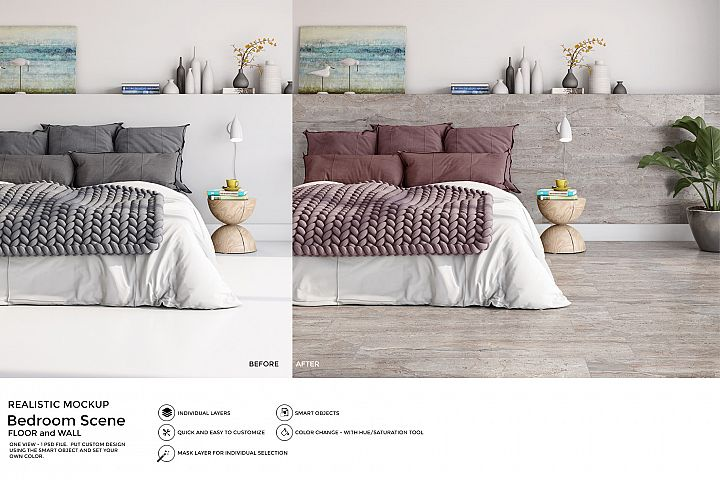 Bedroom PSD Mockup to change Floor and Wall surface SM32