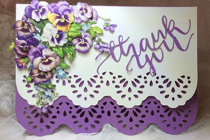 3D Pansies greeting card
