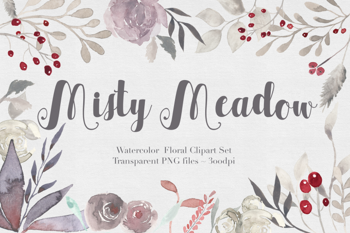 Misty Meadow Floral Clipart Set
