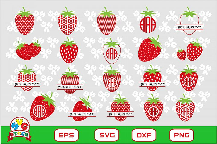 Strawberry svg, Clipart for Sihouette Cameo, Cricut and more