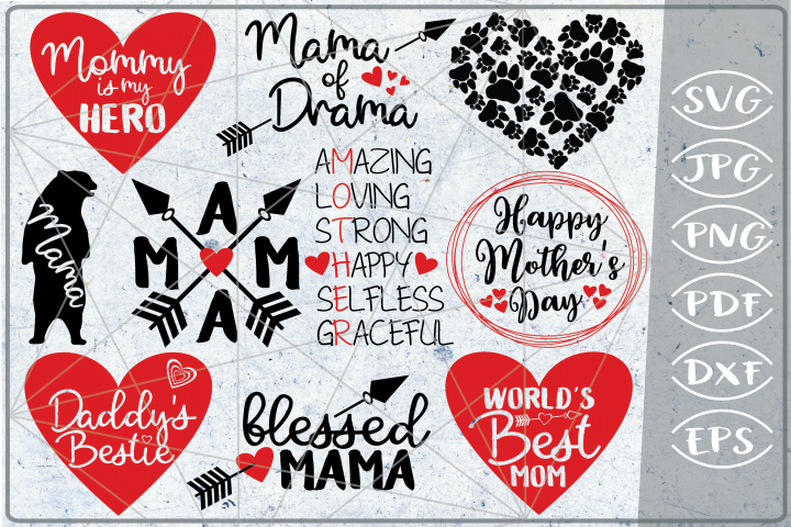 Mothers Day Bundle 10 SVG Cutting Files Happy Mothers Day