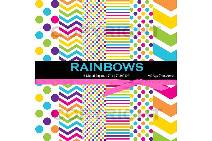 Rainbow Papers, 6 Digital Rainbow Papers in Dots, Stripes, and Chevron, 12