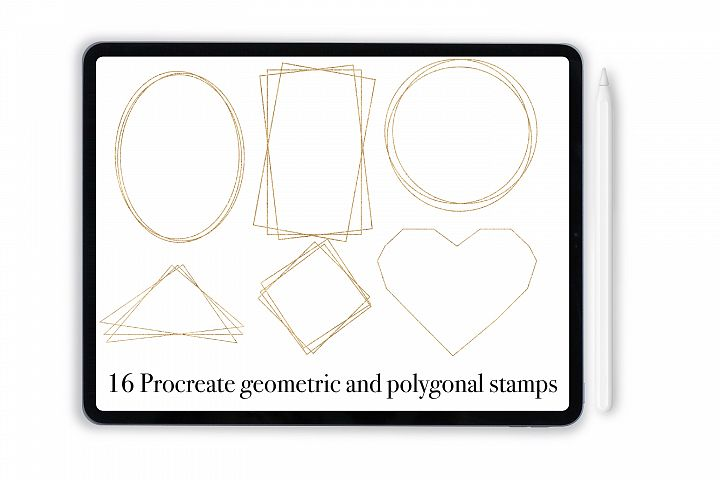 Procreate geometric frames stamps with free gold texture