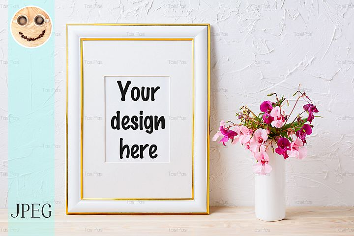 Gold decorated frame mockup with pink and purple flower