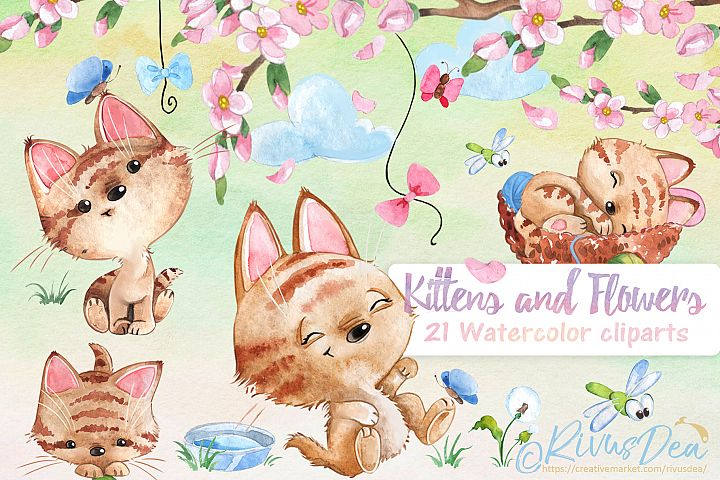 Watercolor spring kitten and flowers clipart