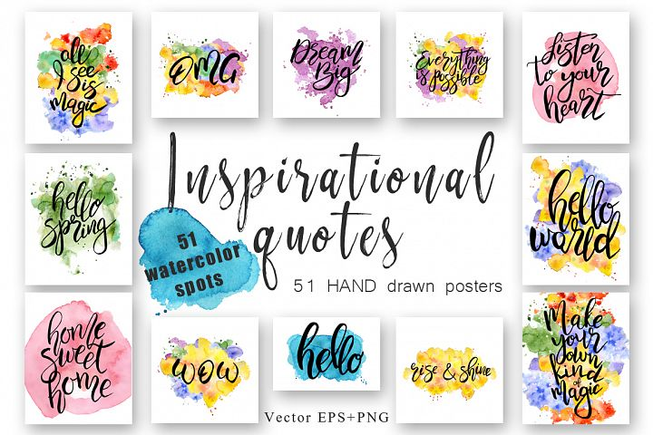 Hand drawn watercolor Inspirational quotes DIY pack