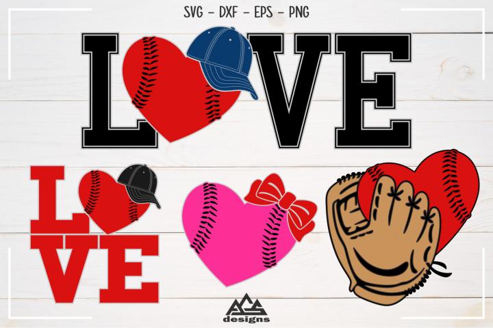 Baseball - Ball Hat Glove Love Sport Svg Design