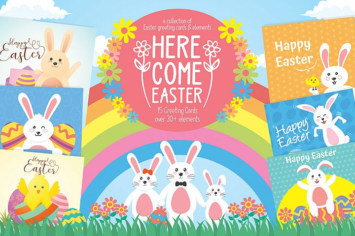 Easter greeting cards & elements