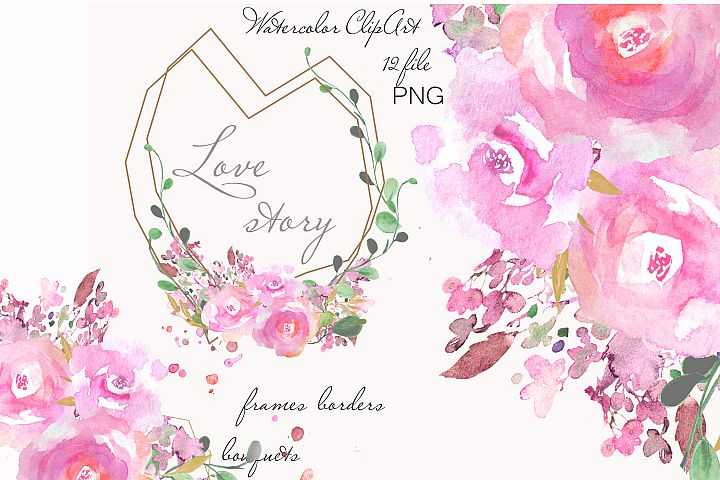 Watercolor Floral Geometric Frames with Pink Flowers Clipart