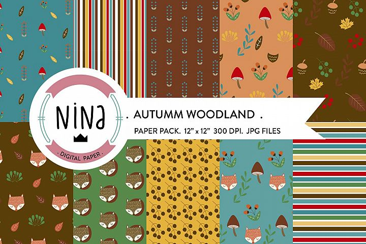 Woodland Digital Paper Pack, Autumn papers