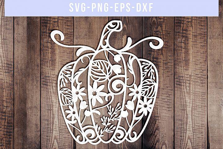 Pumpkin SVG Cut File, Autumn Papercut Template, DXF EPS PNG