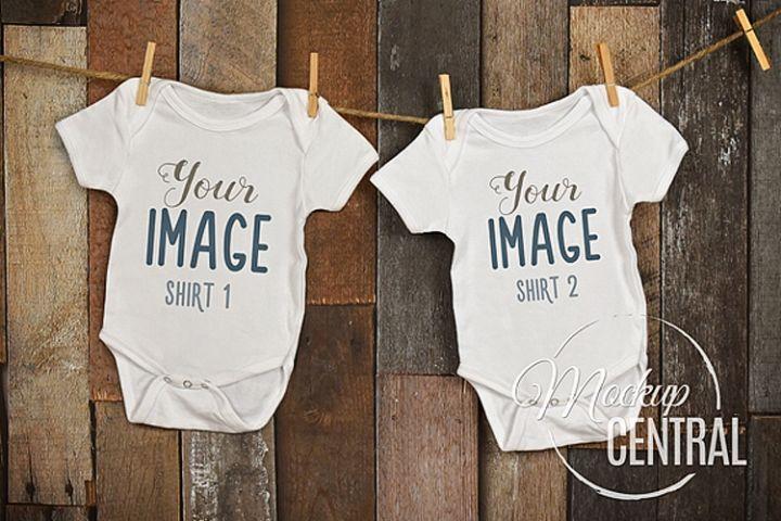 Twin Matching Baby White Onepiece Bodysuit Mockup Shirt JPG