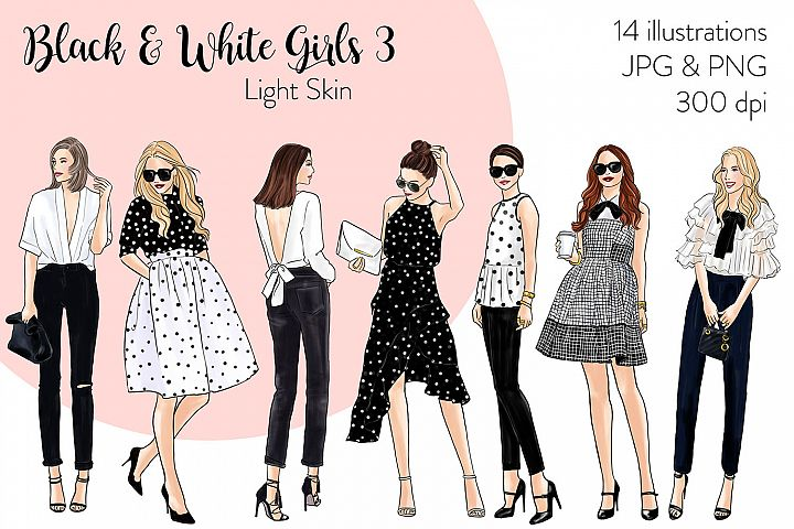 Fashion illustration clipart - Black & White Girls 3 - Light