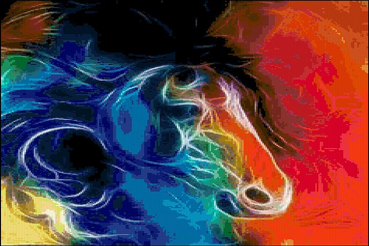 Fractal Horse Cross Stitch Pattern