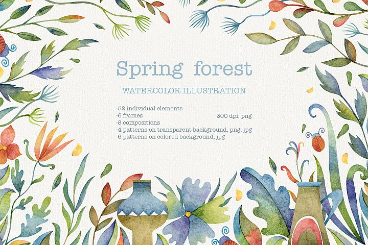 Spring forest watercolor set