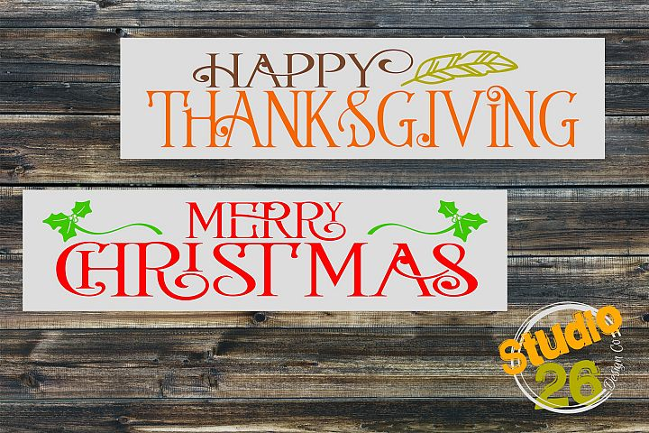 Thanksgiving & Christmas SVG Bundle- 2 Files