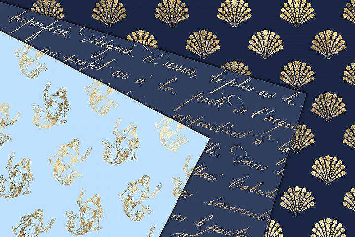 Blue and Gold Mermaid Digital Paper example 1