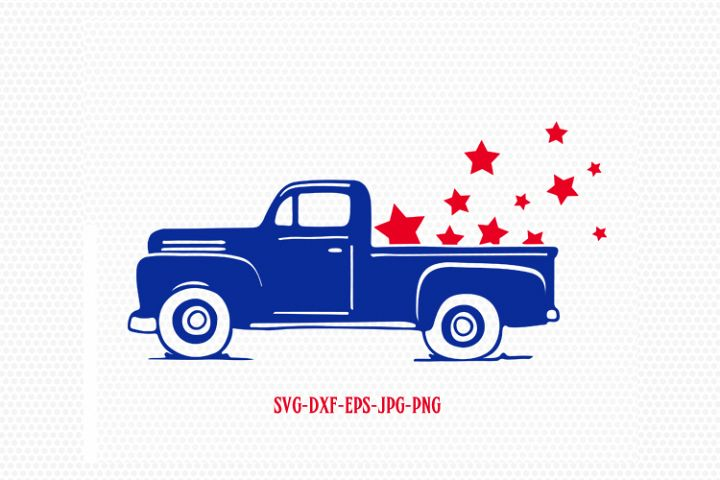 Patriotic vintage old truck svg,  Fourth of July SVG, 4th of July Svg, Patriotic SVG, America Svg, Cricut, Silhouette Cut File, svg dxf eps