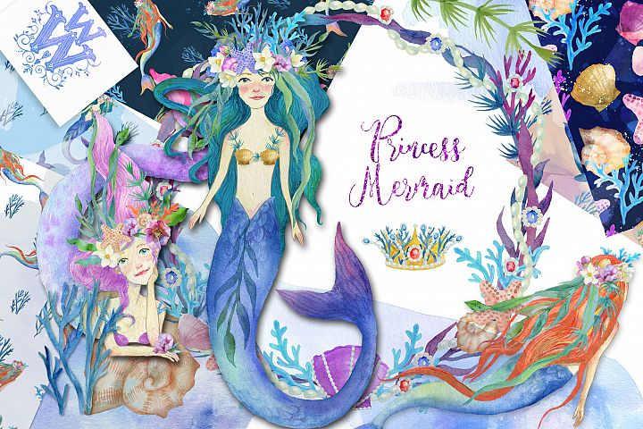 Watercolor mermaid princess clipart set, siren digital paper