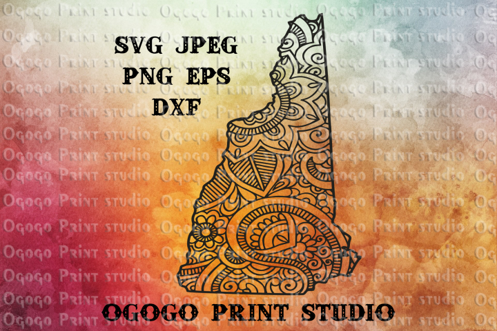 New Hampshire SVG, Map Zentangle SVG, Mandala svg