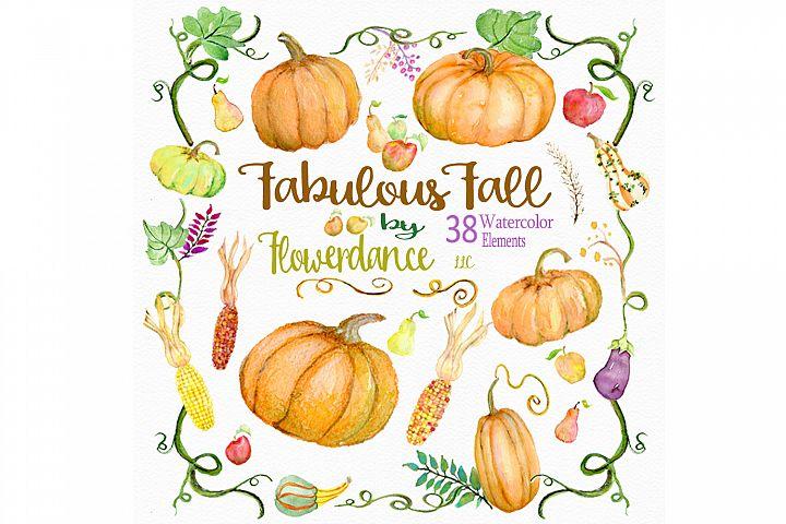 Pumpkin Watercolor Clipart, Harvest Gourds, Squash